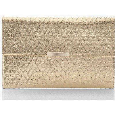 Womens Metallic Faux Snake Envelope Clutch Bag - metallics - One Size, Metallics