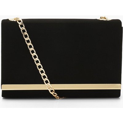 Womens Structured Suedette Clutch Bag And Chain - Black - One Size, Black