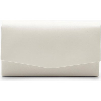 Womens Structured Pu Clutch Bag & Chain - White - One Size, White