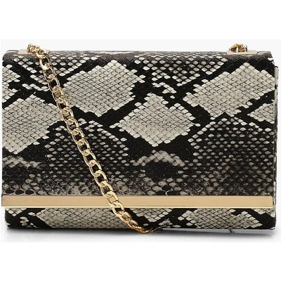 Womens Faux Snake Structured Suedette Clutch Bag - black - One Size, Black