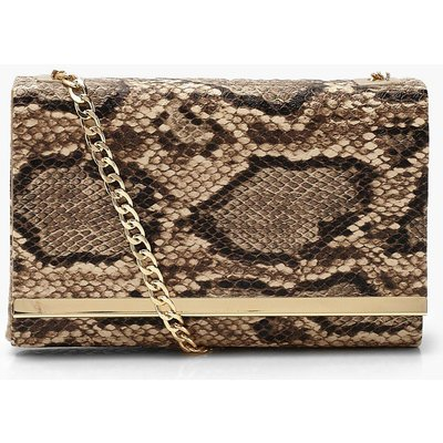 Womens Faux Snake Structured Suedette Clutch Bag - Brown - One Size, Brown