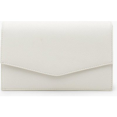 Womens Grainy Pu Envelope Clutch Bag & Chain - White - One Size, White