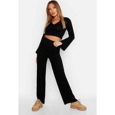 Womens Cropped V Neck Top & Wide Leg Rib Co-Ord - black - 14, Black