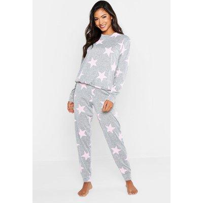 Womens Star Print Sweat & Jogger Set - grey - XS, Grey