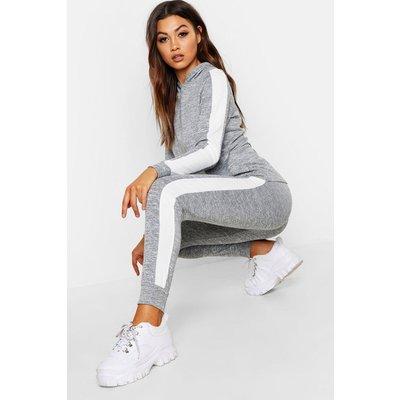 Womens Stripe Insert Rib Hoody Lounge Set - grey - 16, Grey