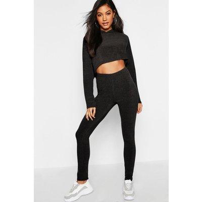 Womens Ribbed Crop Hoodie & Legging Set - black - L, Black