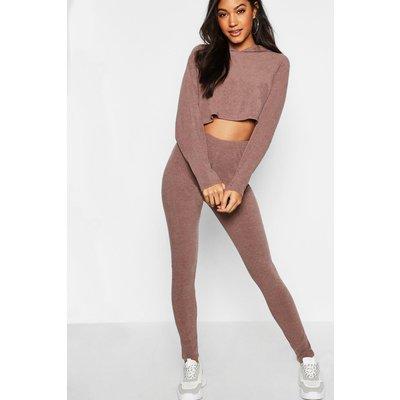 Womens Ribbed Crop Hoodie & Legging Set - brown - L, Brown