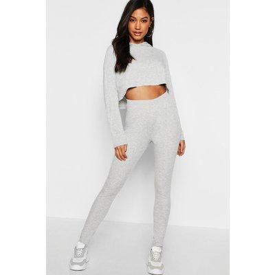 Womens Ribbed Crop Hoodie & Legging Set - grey - L, Grey