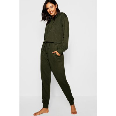 Womens Crop Hoodie and Jogger Set - green - S, Green