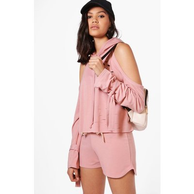 Cold Shoulder Hoodie  Short Set - pink