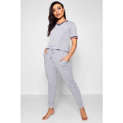 Womens Sports Rib Detail Tshirt And Jogger Set - grey - L, Grey