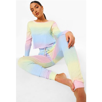 Womens Ombre Long Sleeve And Jogger Lounge set - multi - 14, Multi