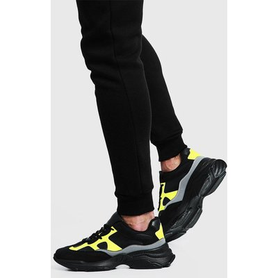 Mens Black Neon Chunky Trainer, Black