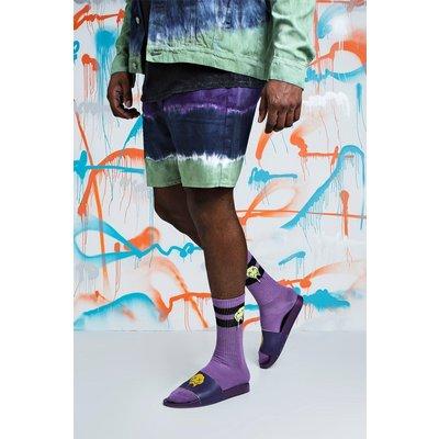 Mens Purple Big & Tall Quavo Slim Fit Tie Dye Denim Short, Purple