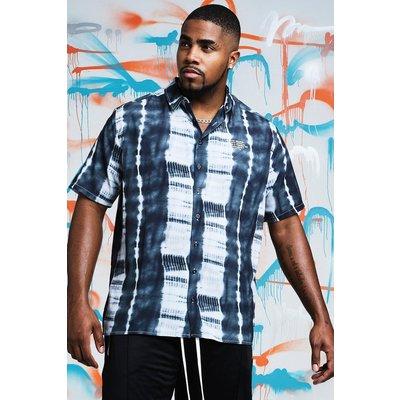 Mens Black Big & Tall Quavo Tie Dye Shirt With Print, Black