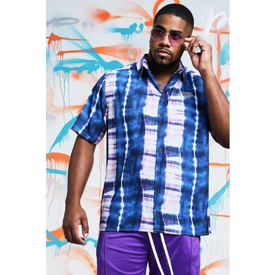 Mens Blue Big & Tall Quavo Tie Dye Shirt With Print, Blue