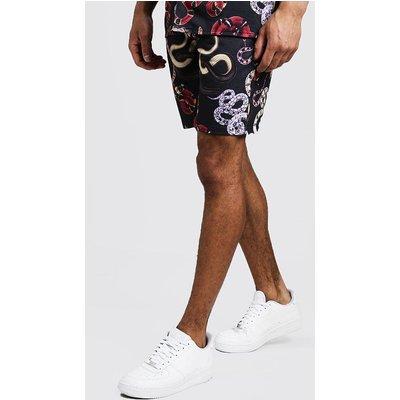 Mens Black Snake Print Shorts, Black