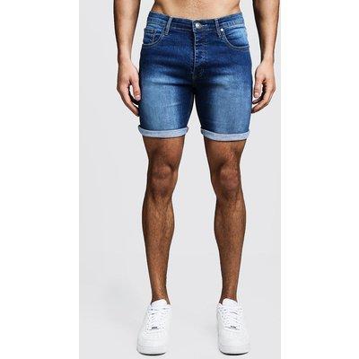 Mens Stretch Skinny Fit Mid Blue Denim Shorts, Blue
