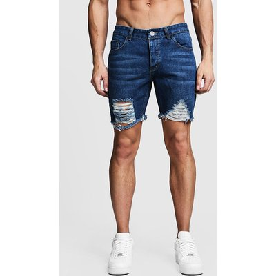 Mens Blue Slim Fit Distressed Denim Shorts With Raw Hem, Blue