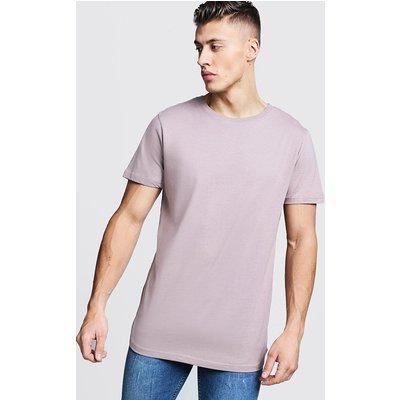 Mens Brown Short Sleeve Longline T Shirt With Curve Hem, Brown