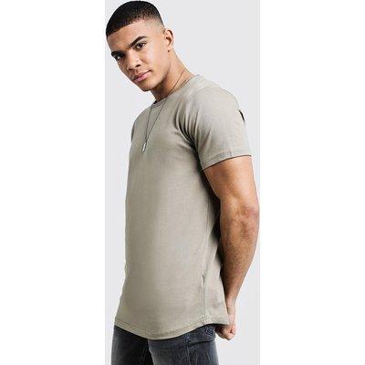Mens Green Short Sleeve Longline T Shirt With Curve Hem, Green