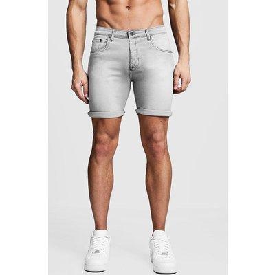 Mens Stretch Skinny Fit Grey Denim Short, Grey