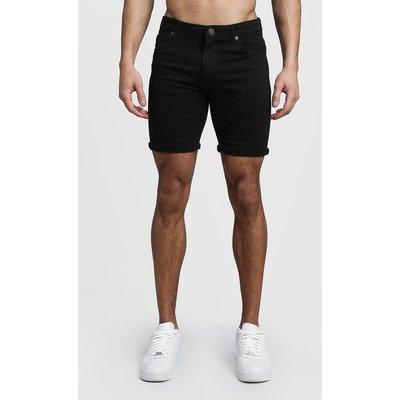 Mens Stretch Skinny Fit Black Denim Shorts, Black