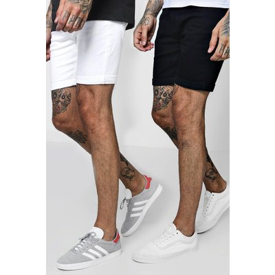 Mens Multi 2 Pack Denim Shorts In Skinny Fit, Multi