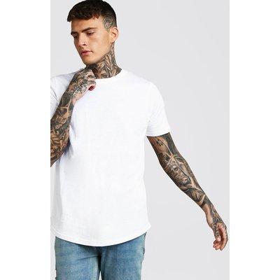 Mens White Short Sleeve Longline T Shirt with Curve Hem, White