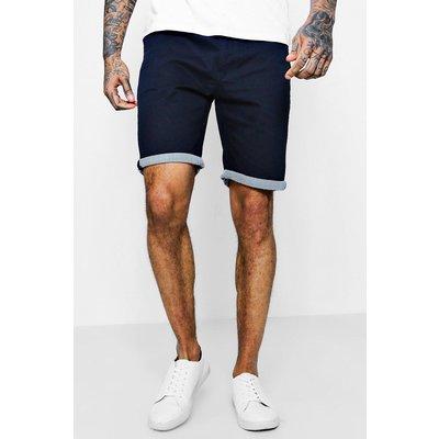 Mens Navy Chino Shorts With Stripe Turn Up, Navy