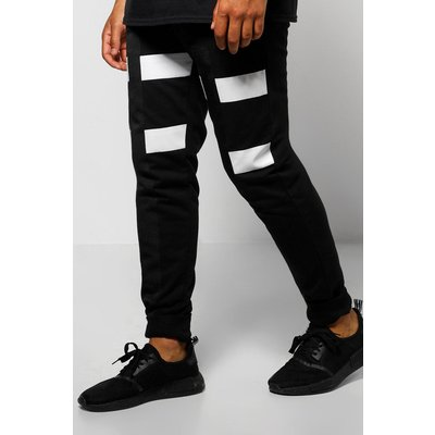 Fit Colour Block Joggers With Tape - black