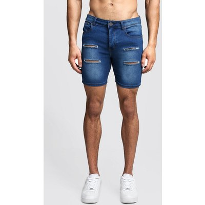 Mens Blue Skinny Fit Distressed Denim Shorts, Blue