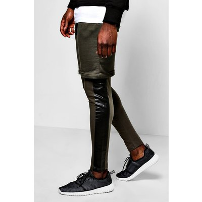Layer Shorts/Meggings With Print - khaki