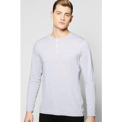 Sleeve Henley Lounge Top - grey
