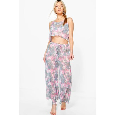 Floral Sheer Printed PJ Set - multi