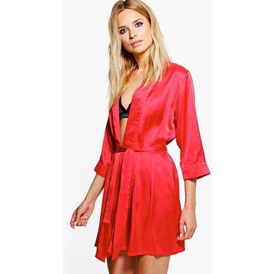 Tie Waist Kimono Robe - red
