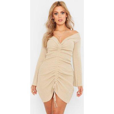 Womens Plus Ruched Bardot Knitted Dress - beige - 20, Beige