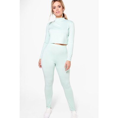 Holly High Neck Lounge Crop Top and Legging - sage