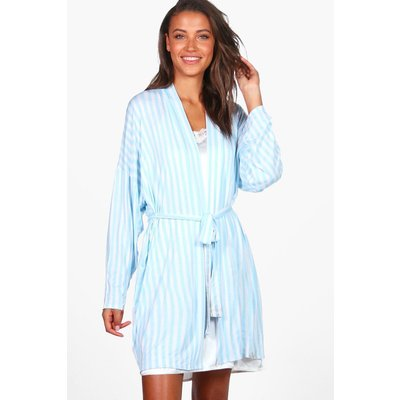 Chana Striped Lounge Robe - blue