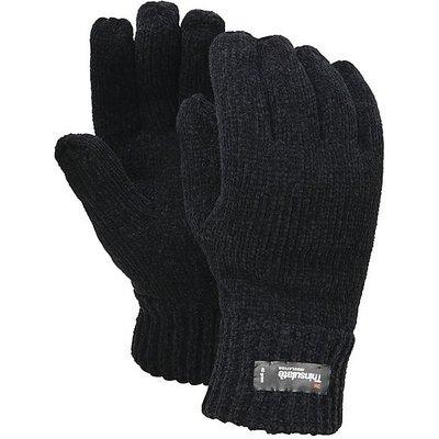 FORDVILLE LTD Women's Chenille Thinsulate Gloves, BLACK