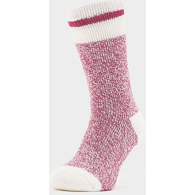 HEAT HOLDERS Ladies Cream Block Twist Socks, BERRY