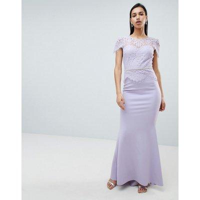 City Goddess Lace Belted Fishtail Maxi Dress