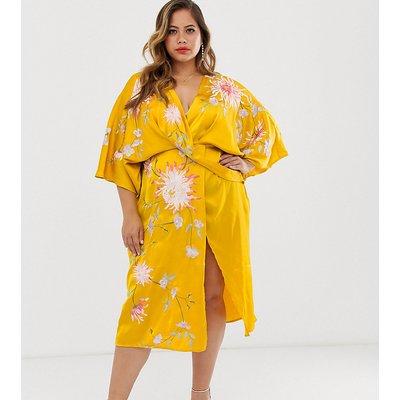 ASOS DESIGN Curve satin kimono midi dress with floral embroidery