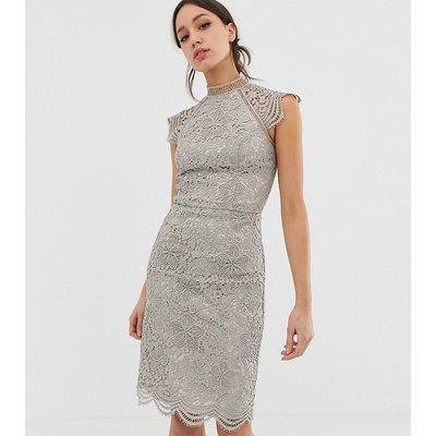 Chi Chi London Tall scallop lace pencil dress in grey