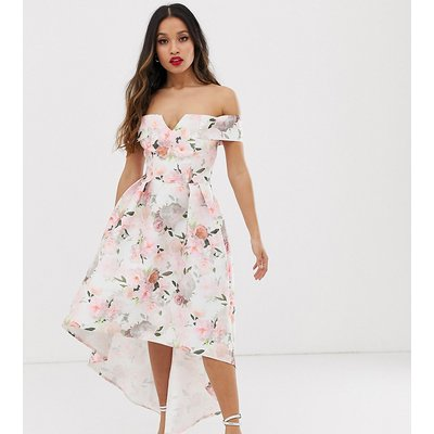 Chi Chi London Petite bardot midi prom dress in floral