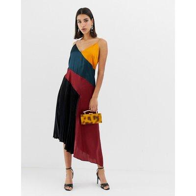 ASOS DESIGN pleated midi dress in colourblock satin