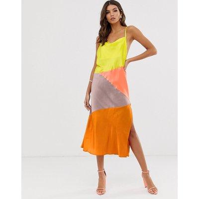 ASOS DESIGN midi slip dress in satin colourblock
