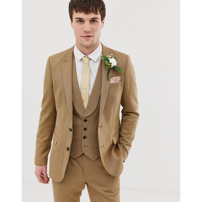 ASOS ASOS DESIGN - Wedding - Enge Anzugjacke aus Twill in Camel - Beige
