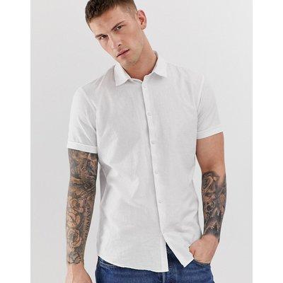 SELECTED Selected Homme - Kurzärmliges Hemd in Weiß aus Leinen-Mix mit schmalem Schnitt - Weiß