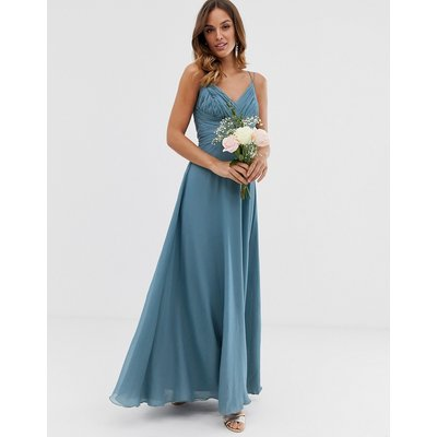 ASOS DESIGN Bridesmaid cami wrap tie waist maxi dress with layered skirt